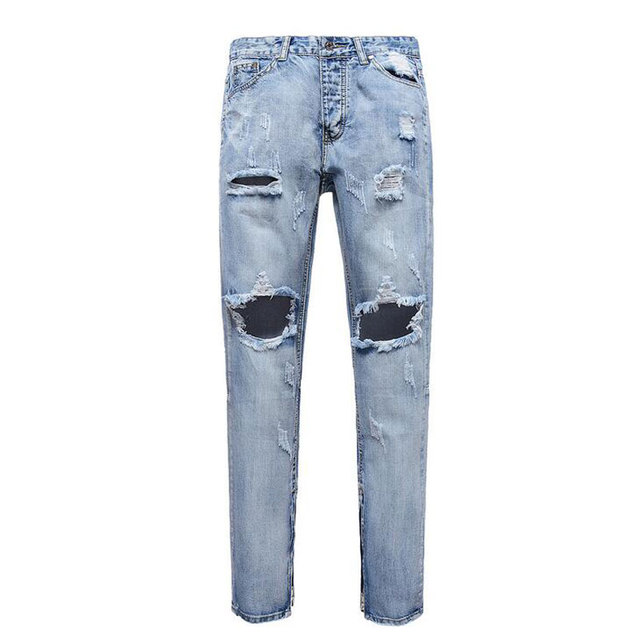 2017 Mens Moto Biker Jeans Fashion Slim Fit Straight Denim Pants Destroyed Ripped Jeans Man Casual Distressed Ankle Zipper Jean