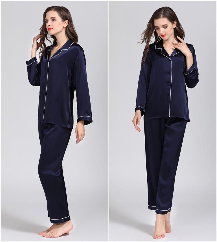 100 Pure Silk Women s Classical Pajama Set Sleepwear Nightgown M L XL YM007