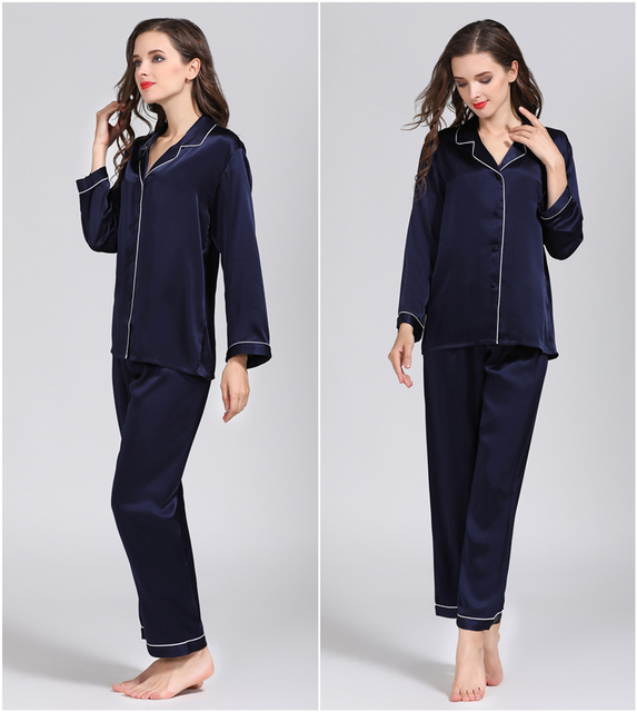 100% Pure Zijde Vrouwen Klassieke Pyjama Set Nachtkleding Nachtjapon M L Xl YM007
