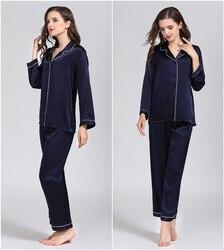 100% reiner Seide frauen Klassische Pyjama Set Nachtwäsche Nachthemd M L XL YM007