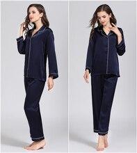 طقم بيجاما كلاسيكية للسيدات من الحرير الخالص لعام 100% طقم نوم ثوب نوم مقاس M L XL YM007