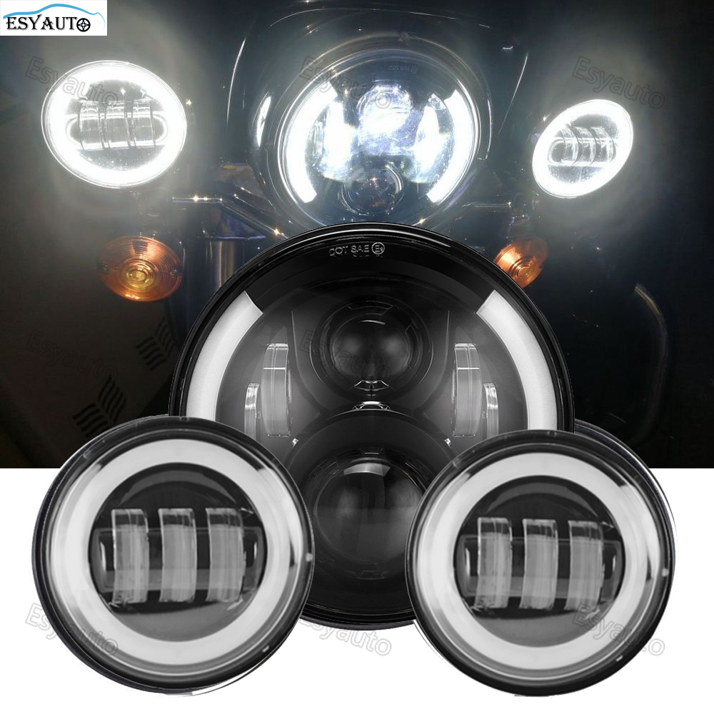 7 inch Angel eye headlight LED Protection Headlamp White DRL 4.5 Inch LED Passing Fog Light for Harley Davidson