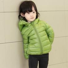 Одежда для девочек дети зимой утка пуховик одежда детских пуховик с капюшоном мальчик вниз одежда конфеты цвета с длинными рукавами пальто