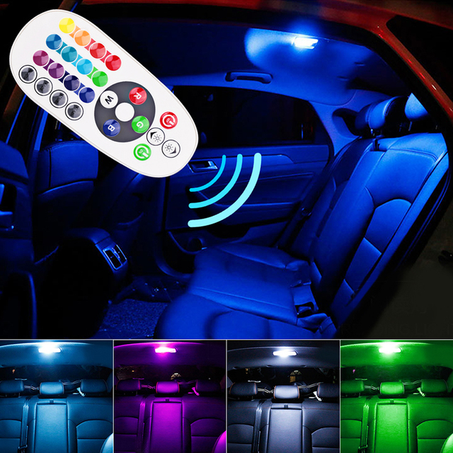 1 set afstandsbediening auto interieur rgb led auto leeslamp dc 12 v t10 5050 bright lamp