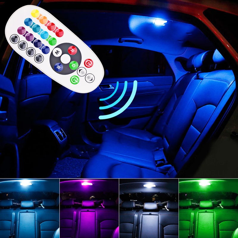 1set remote control car interior rgb led car reading light dc 12v t10 5050 bright lamp bulb auto. Black Bedroom Furniture Sets. Home Design Ideas