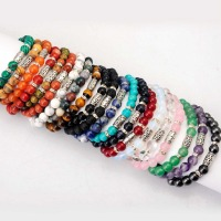 8mm Wholesale 10pc Lot Natural Stone Bracelet For Women Men