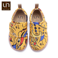 UIN Art Painted Little Kids Canvas Shoes Easy Hook & Loop Sneakers for Boys/Girls Comfort Children Fashion Shoes Lightweight