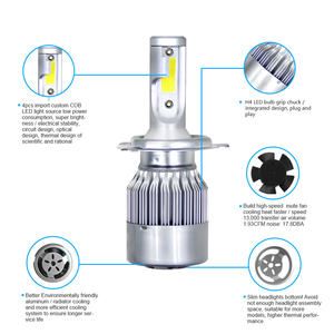 Image 4 - Передние фары Visture для автомобиля, светодиодные фары для авто, 1 пара, лампы H4 H7 H11 H8 HB4 H1 H3 HB3, фары ближнего и дальнего света 6500К, 12 В, передние фары С6