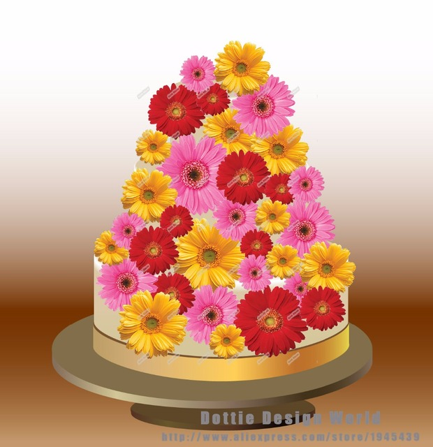 25 Mixed Daisy Edible Cake Topper Wafer Rice Paper Wedding Cupcake Cookie Birthday Baby