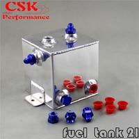 Universal Fuel Surge Tank 2 Litre Swirl Pot System Aluminium 2L Surge tank BLACK / BLUE adapter