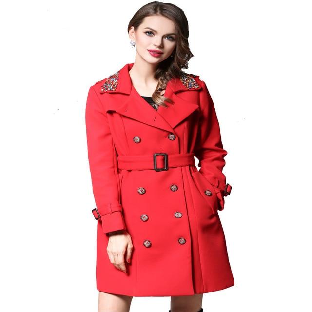 Европейский долго Пальто для Женщин Элегантный Двубортный Тонкий Дамы Ветровка Опоясанный Алмазов Осень Пальто Женщин Красный