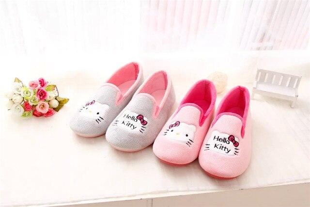 Kawaii Hello Kitty Плюшевые Мультфильм Теплые Тапочки Домашние Тапочки Для Осень Зима Anti-Slip Крытый Тапочки Обувь Женщина Pantuflas