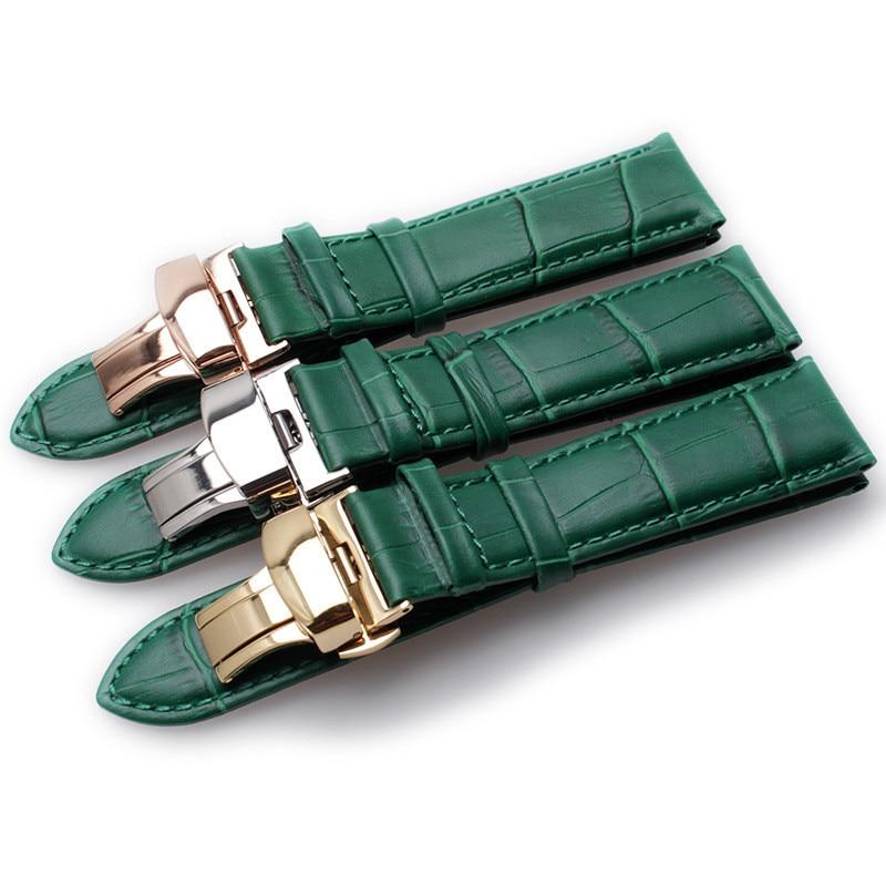Green Bamboo Grain Genuine Leather Watch Strap Butterfly Buckle Mens Womens Watchband Bracelet 12mm 14mm 16mm 18mm 20mm 22mm