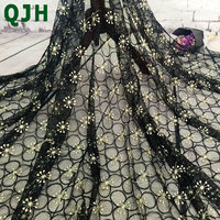 Super Soft Gold Wire Embroidery Diamond Tulle Net Lace Fabric 4 Colors Available High Quality Embroidered