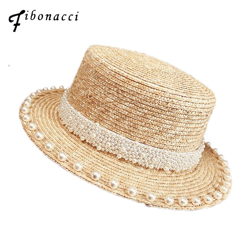 Fibonacci 2019 New Pearl Decoration Sun Hat For Women Flat Top Jazz Fedoras Panama Summer Straw Hat Brief Blue Girdle Beach Hats