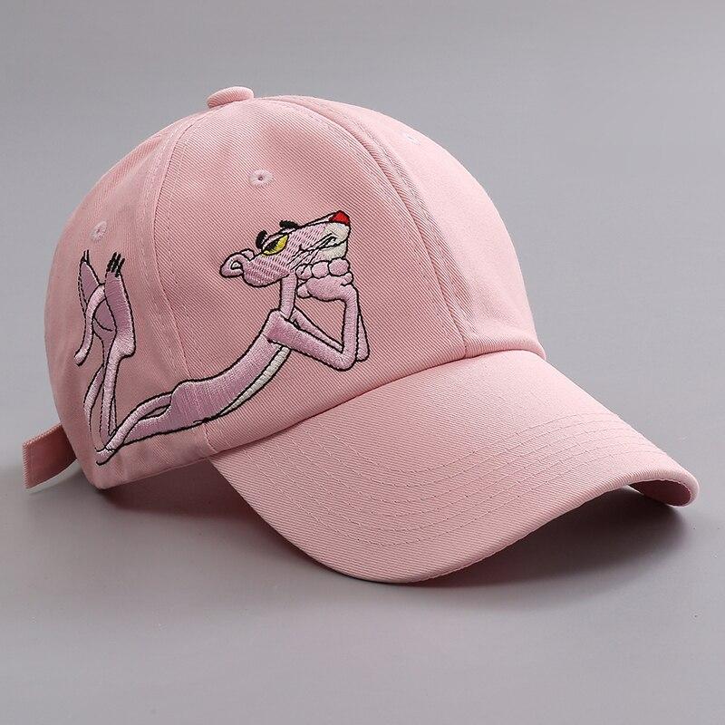 La novedad de la historieta de La pantera rosa bordado gorra de béisbol mujeres Unisex bordado Casual sol gorras para hombres económico Snapback gorra