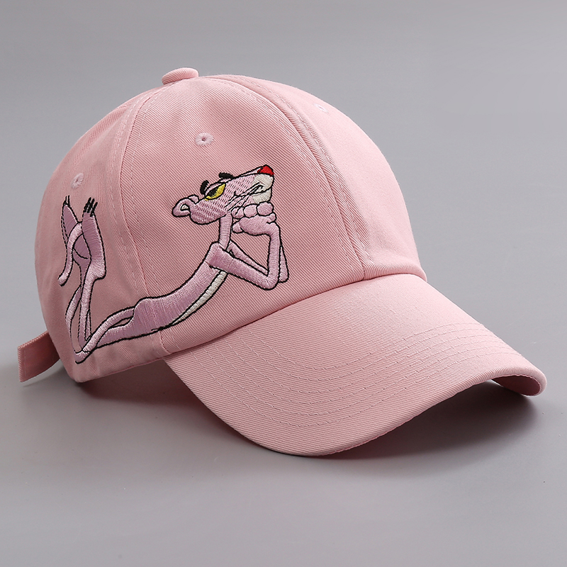 Novelty Cartoon Pink Panther Embroidery Baseball Cap Women Unisex Embroidery Casual Sun Caps For Men Cheap Snapback Cap