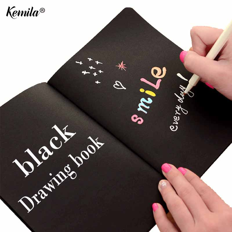 kemila A4 A5 black Sketch black paper Stationery Notepad SketchBook For Painting Drawing Diary Journal Creative Notebook Giftkemila A4 A5 black Sketch black paper Stationery Notepad SketchBook For Painting Drawing Diary Journal Creative Notebook Gift