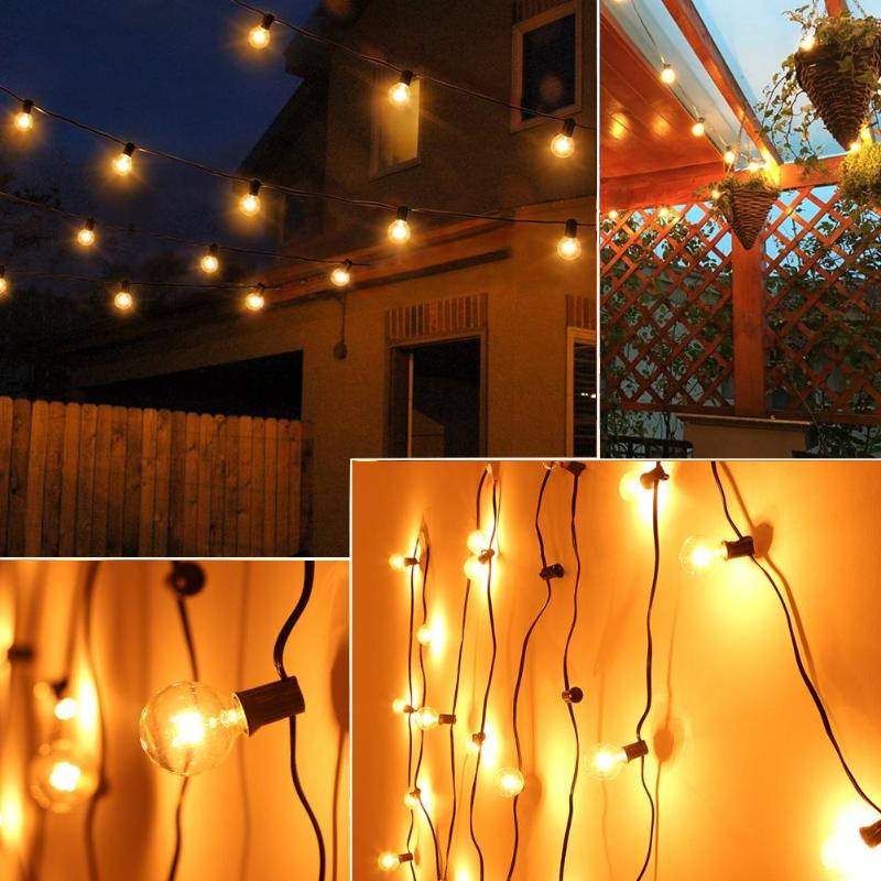 15m 50 LED Strings Lights Waterproof G40 Globe Bulbs Fairy Lamps for Christmas Wedding Party Decoration