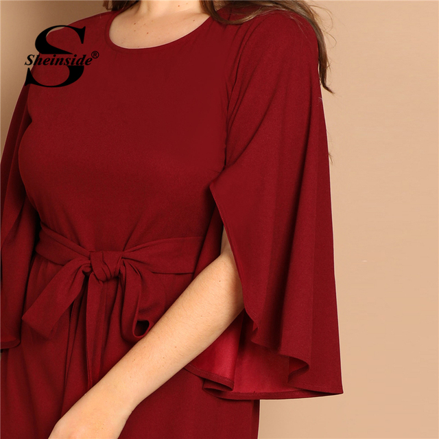 Sheinside Plus Size Flutter Sleeve Tie Waist Women Bodycon Dress Elegant Solid Long Womens Dresses Burgundy Ladies Pencil Dress 3