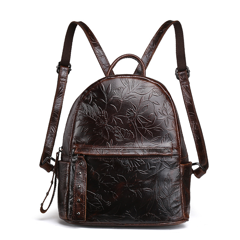 New Arrival Female Embossed Leather Backpack Oil Wax Cowhide Genuine Leather Women Vintage Rucksack Brand Girls