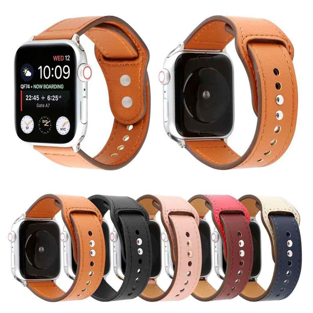 Women men Leather Strap Band for iwatch series 4 3 2 1 Sport wrist Watchband for Apple Watch 38mm 40mm 42mm 44mm