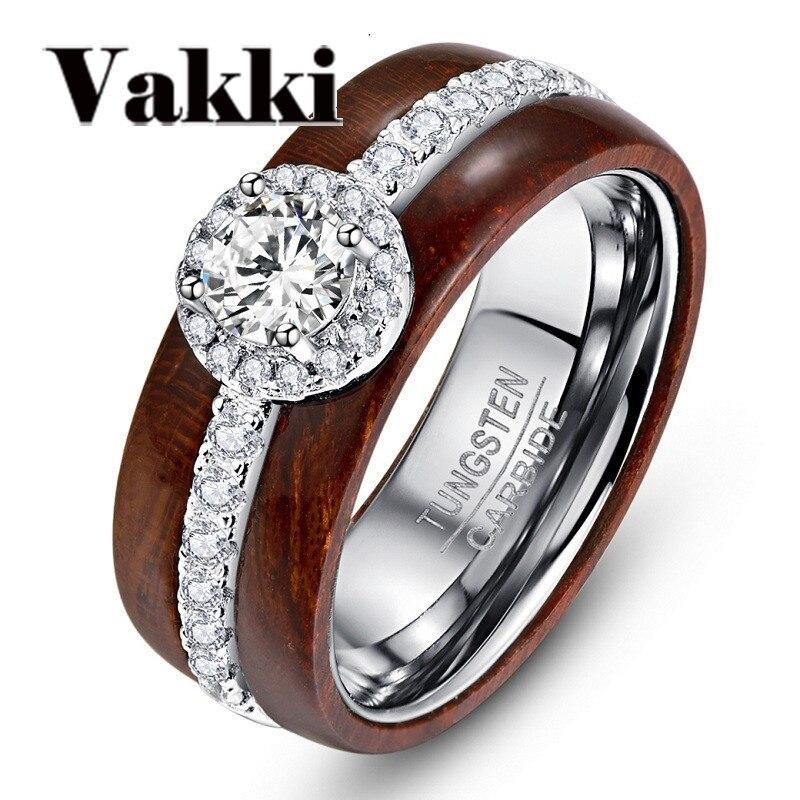 Изысканное новейшее кольцо из 100% карбида вольфрама с цирконием, настоящее полированное деревянное кольцо Koa для свадебных украшений
