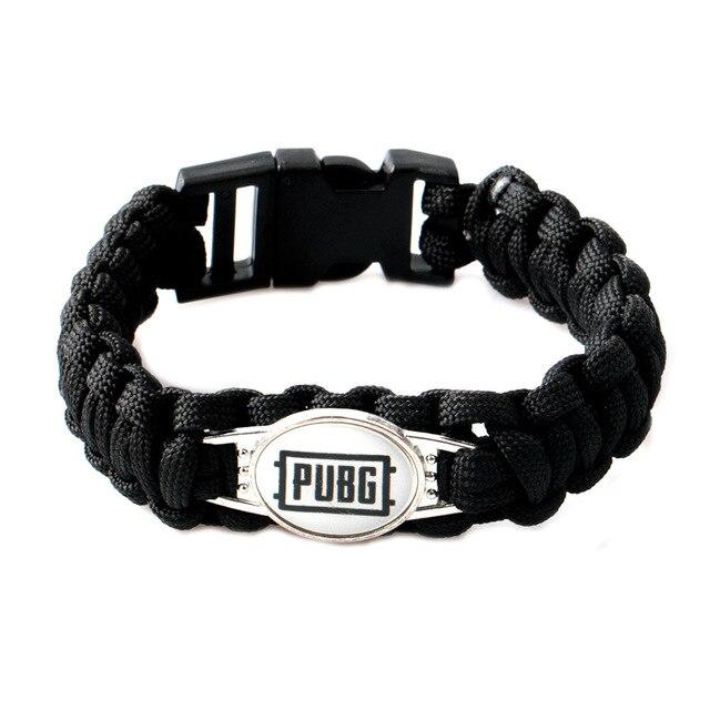 Black Paracord Emergency Pulsera cordon mujer Parachute Braided wrist band PUBG bracelet Survival Military Bracelet