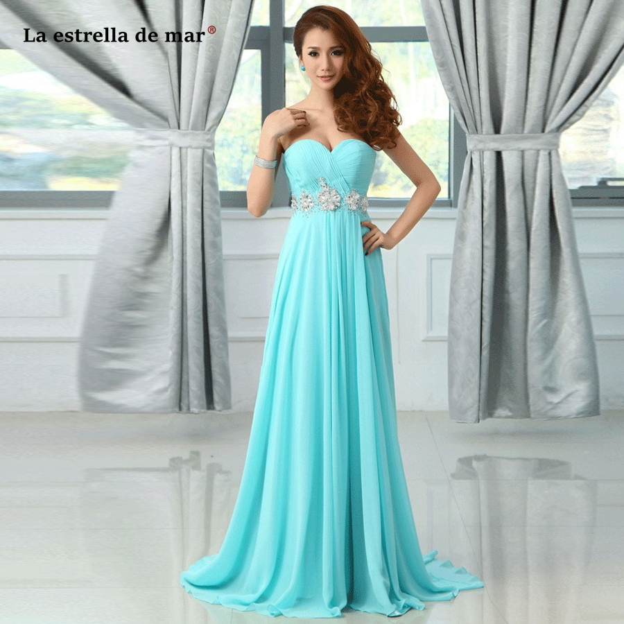 robe demoiselle d'honneur pour femme Hot Chiffon Crystal Off the Shoulder Off the Shoulder A Line Turquoise   Bridesmaid     Dress