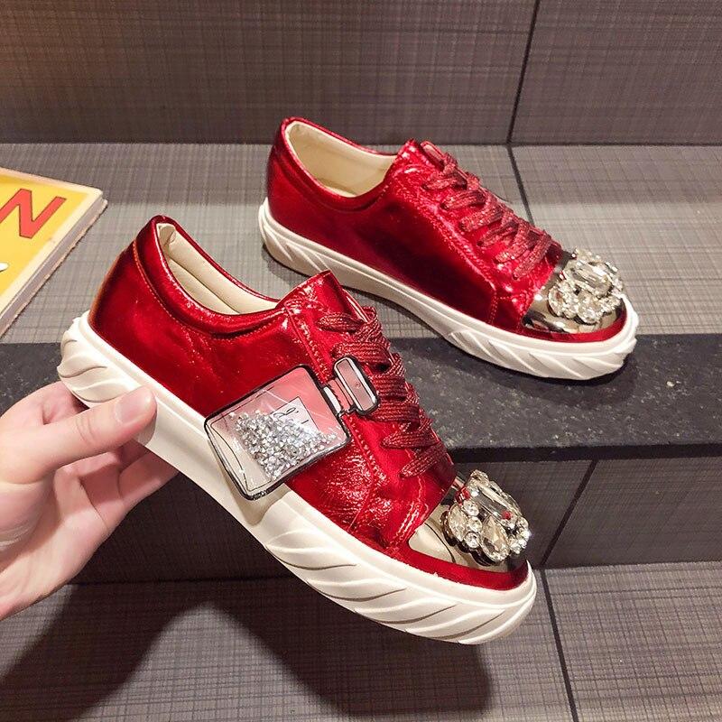 Ry-relaa femmes baskets chaussures pour femmes européennes printemps nouvelles chaussures en strass femmes ins tide chaussures plates chaussures de sport - 2
