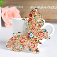 Big Butterfly Lovely Multi-color Crystal Rhinestone Charm Pendant Purse Bag Car Key Ring Chain Creative Wedding Party Gift