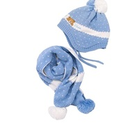 Winter Baby Hat And Scarf Crochet Knitted Cartoon Bear Caps For Infant Boys Girls Kids Neck