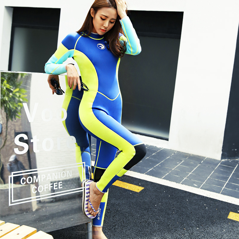 2017 New 3MM Neoprene Wetsuits Women Long Sleeve Warmth One-piece Thicken Swimsuit Diving Swimming Surfing Suit