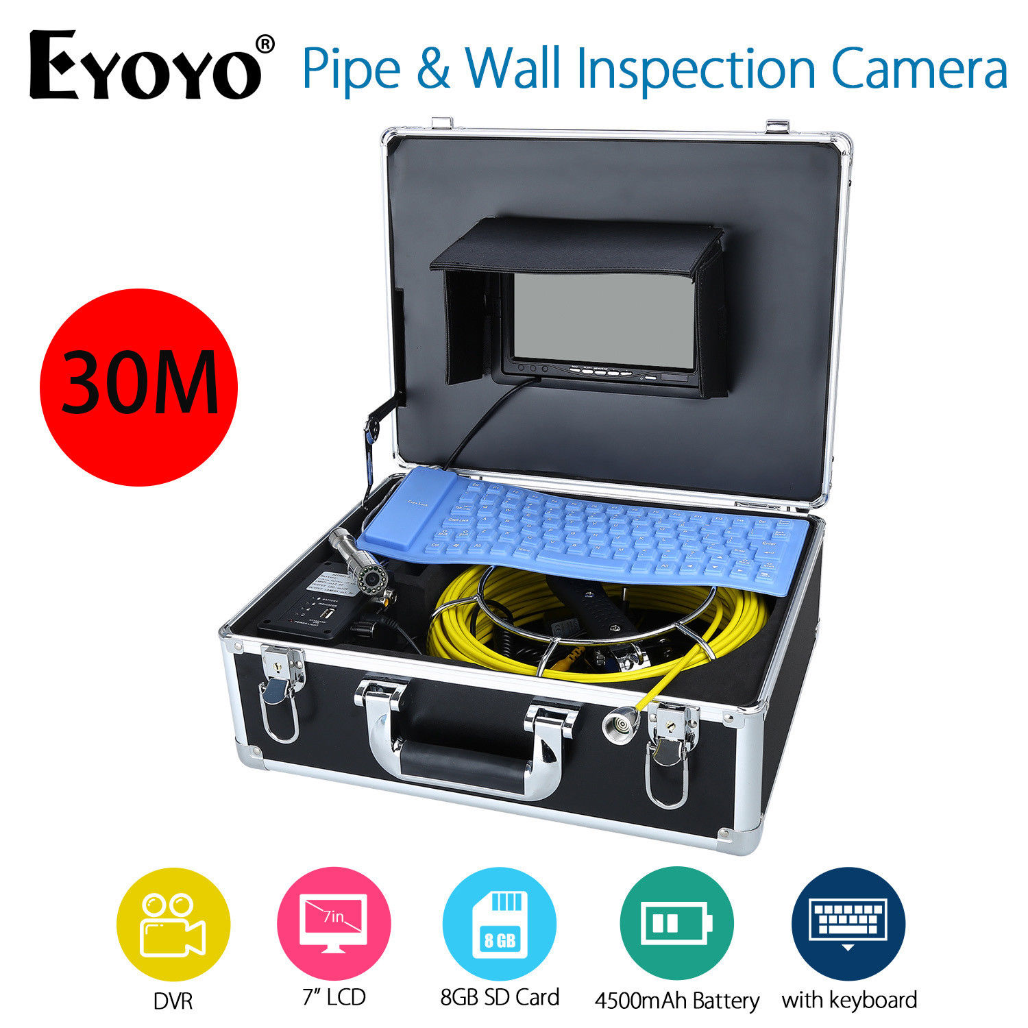 EYOYO 7 LCD Screen CMOS 30M HD 1000TVL Sewer Drain Camera Pipe Wall Inspection Endoscope With Keyboard DVR Recording 8GB Card eyoyo 30m sewer video recording camera 7 lcd screen drain pipe inspection dvr 12 led with battery with aluminum case