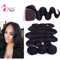 Grade 7A Indian Virgin Hair Body Wave 3 bundles with 1PC Closure 4pcs Rosa Hair Products Indian Virgin Hair With Closure