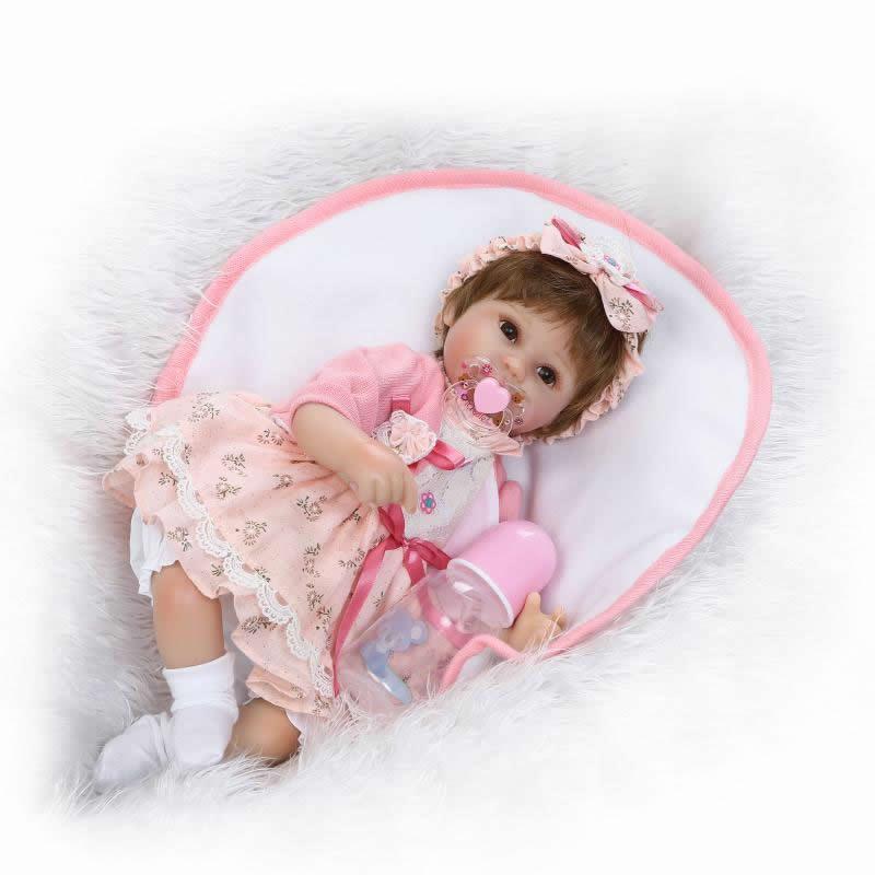 Cute Soft Touch Reborn Baby Girl 17 Inch Silicone Cloth Body Girls Doll Lifelike Newborn Baby Doll Toy Kids Birthday Xmas Gifts