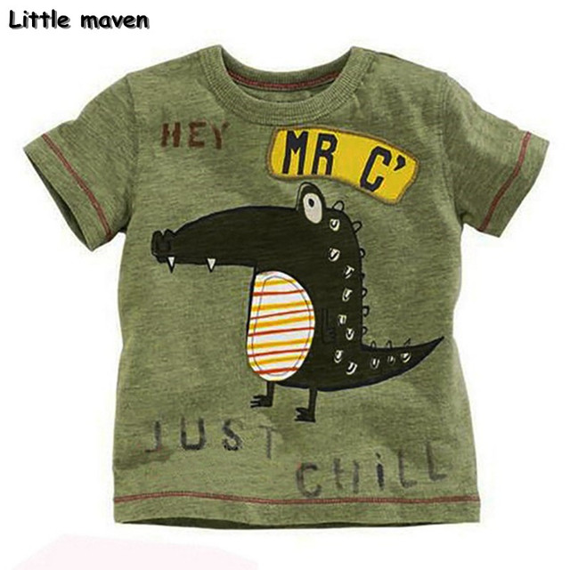 Little maven brand children clothing 2017 new summer baby boy clothes short sleeve t shirt Cotton crocodile print tee tops 50711