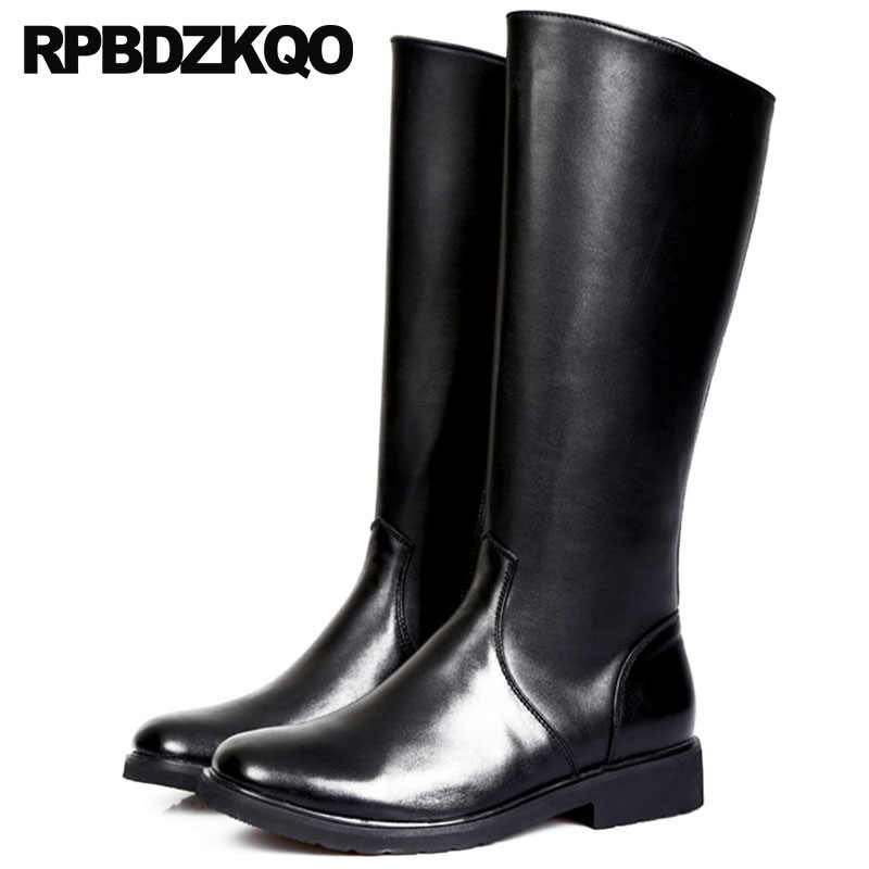 d4352d48a1a Mens Leather Tall Boots Zipper Fall Plus Size Knee High British Style Full  Grain Shoes Round