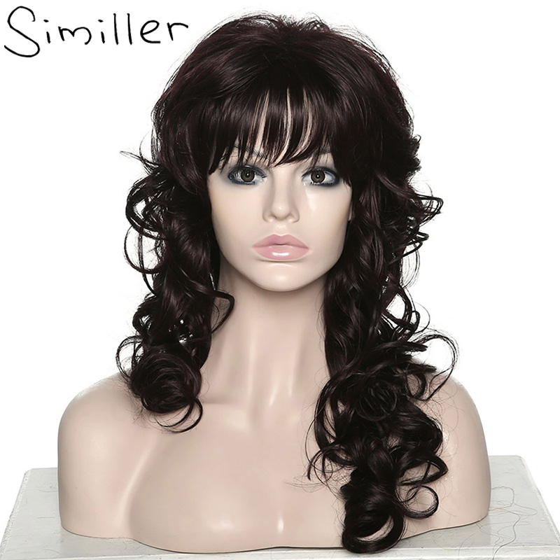 Similler Capless Long Body Wave Fluffy Oblique Bangs Synthetic Wigs For Women Dark Brown Heat Resistant