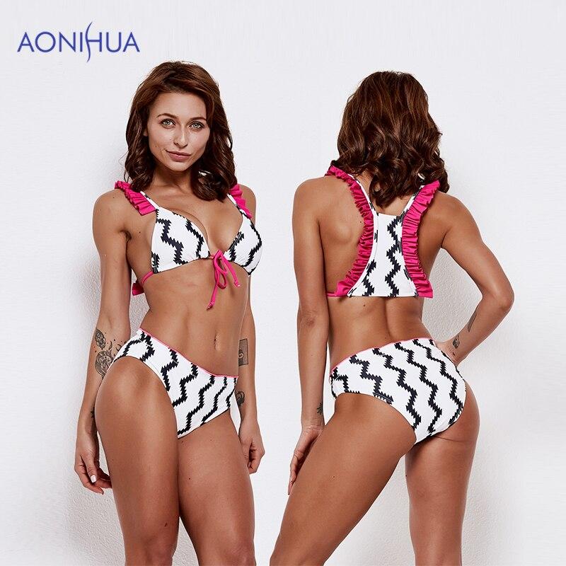 AONIHUA Sex Bikini Set Two Piece Swimsuit Stripes Swimwear Bandage Triangle Body Suits 2019 Padded Bra Swim Wear