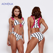 AONIHUA Sex Bikini Set Two Piece Swimsuit Stripes Swimwear Bandage Triangle Body Suits 2019 Padded Bra Swim Wear