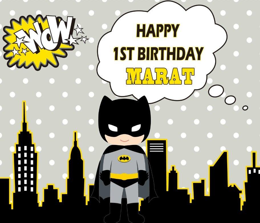 Personnalisé super hero batman ville skyline polka dot décors Haute qualité Ordinateur impression d'anniversaire milieux