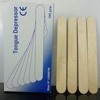 Disposable Wooden Tongue Depressor Sticks 100 Pcs Box Waxing Spatula Wax Applicators Medical B Level