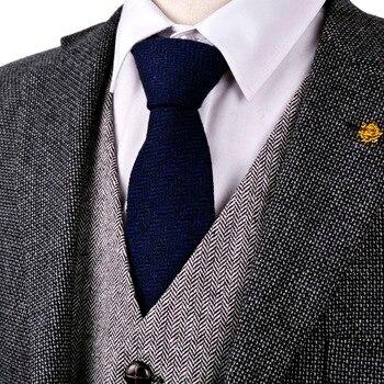 Darmowa wysyłka H42 w jodełkę Tweed stałe granatowy niebieski 7 cm wełna męskie krawaty krawaty hurtownie na co dzień formalne biznes marka nowy