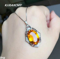 KJJEAXCMY boutique jewelry,Inlaid yellow citrine female pendant in 925 Sterling Silver yellow gold