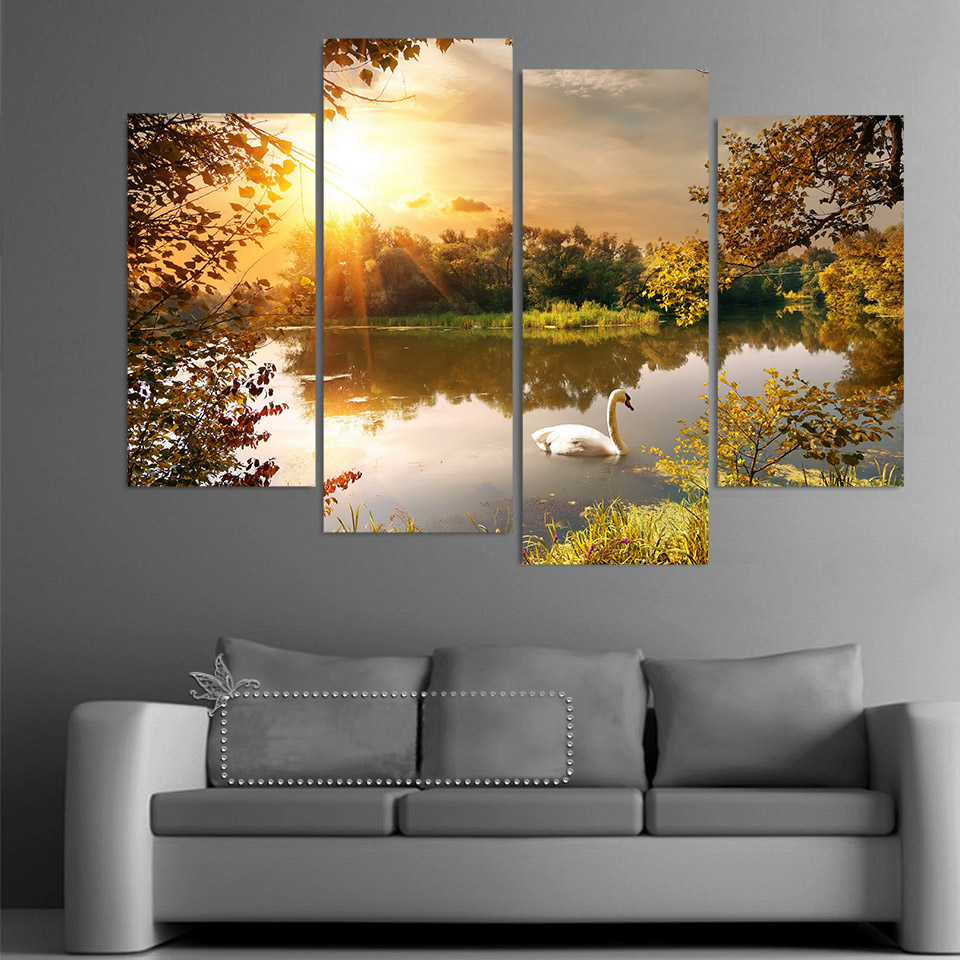 Painting Wall Art Abstract Decorative 4 Panel Ocean Park Swan Framework Canvas Modular Pictures For Living Room Bedroom Prints no frame canvas