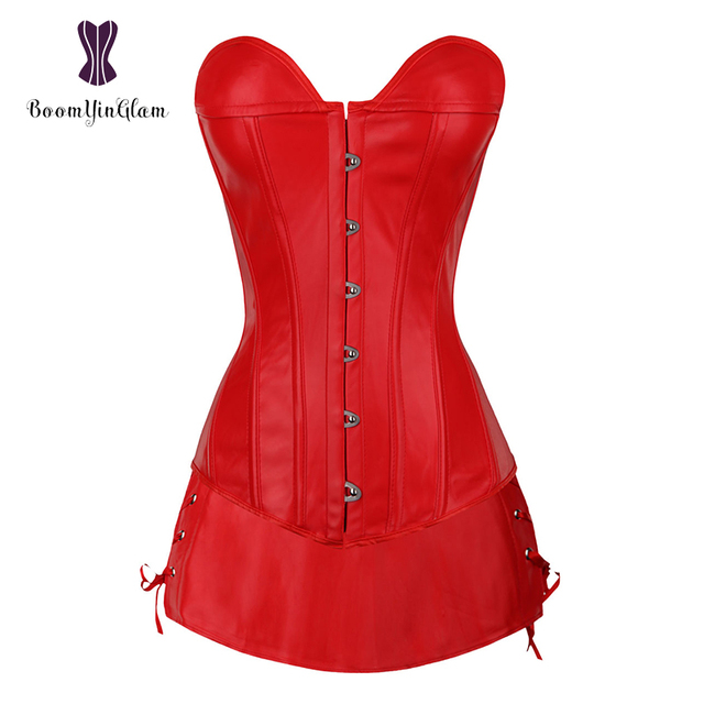 54836434987 wholesale sexy faux leather women bustier corsets daily wearing slimming  body shapewear corset dress with g string