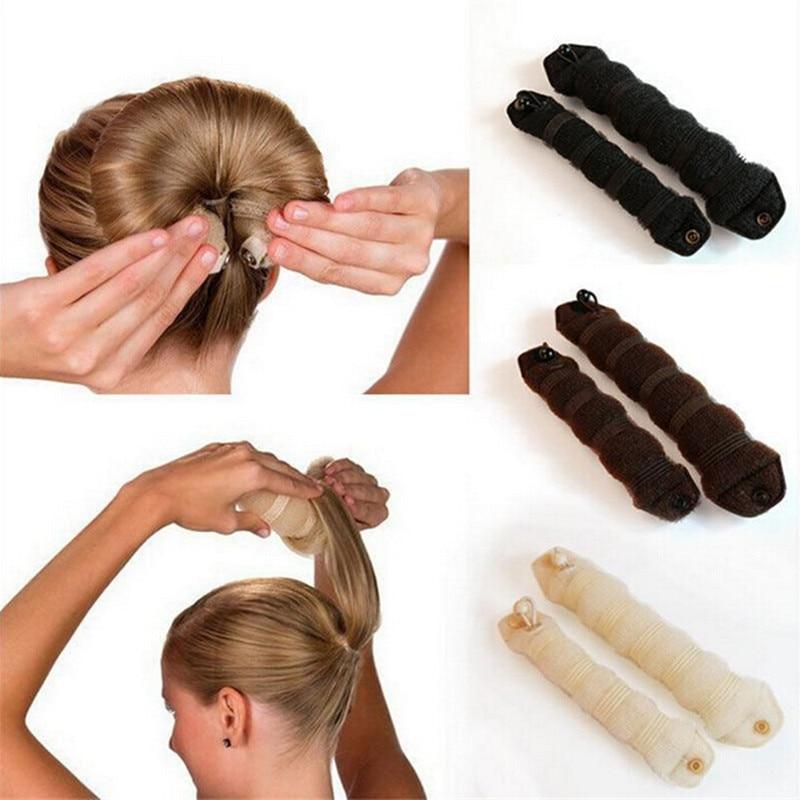 2PCS/lot Hair Styling Former Magic Sponge Bun Maker Donut Ring Shaper Foam Braider Tool For Women Girl's DIY Hair Style