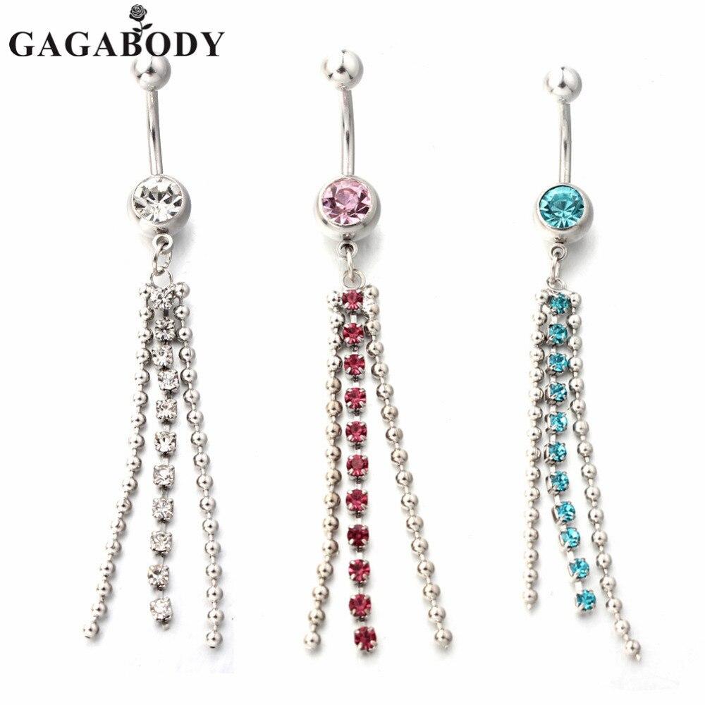 35c456205ba0 Navidad Gaga 316l Acero quirúrgico 14g azul rosa claro cristal largo borla  cuelgan el ombligo del vientre Barra del anillo .