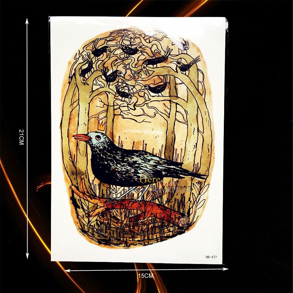 6fe511142cc0b 1 قطعة جديد الكرتون نمط الجسم فن الرسم فلاش الوشم الطيور أشجار فرع تصميم  للماء الذراع الوشم ديكور المنزل الجدار ملصق b477